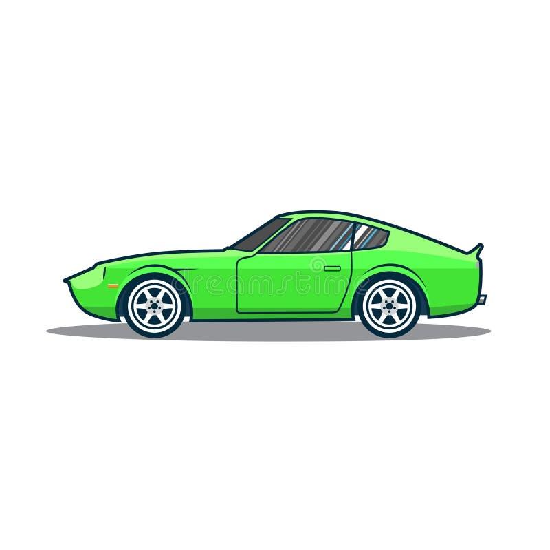 Coche deportivo viejo de Japón del vector Coche verde de la historieta Vista lateral r stock de ilustración