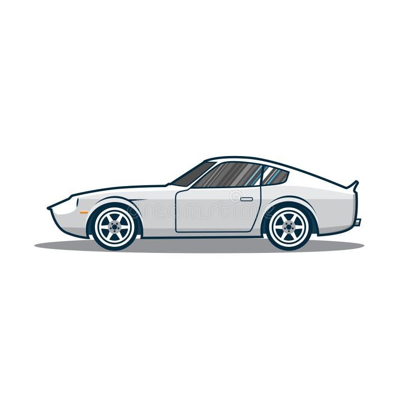 Coche deportivo viejo de Japón del vector Vista lateral ilustración del vector