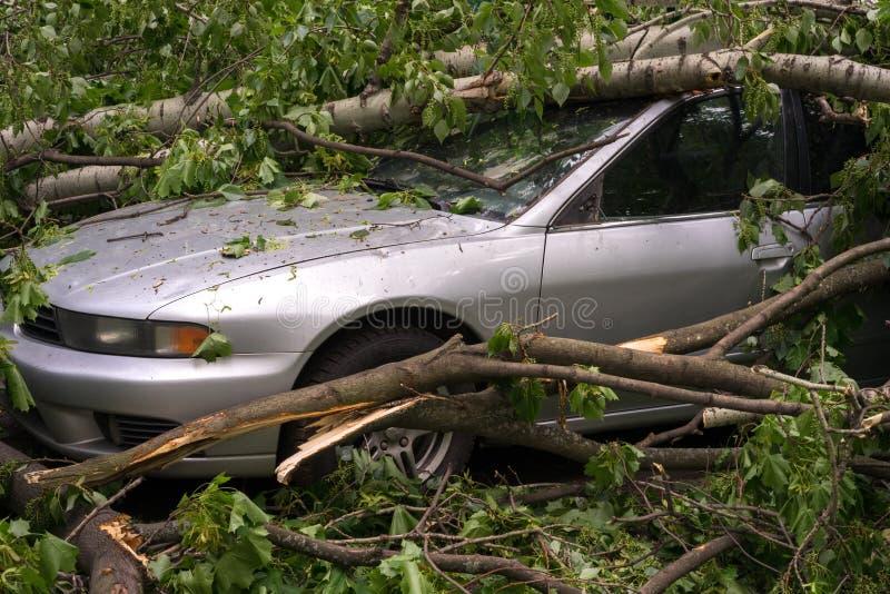 Coche después del huracán imagenes de archivo