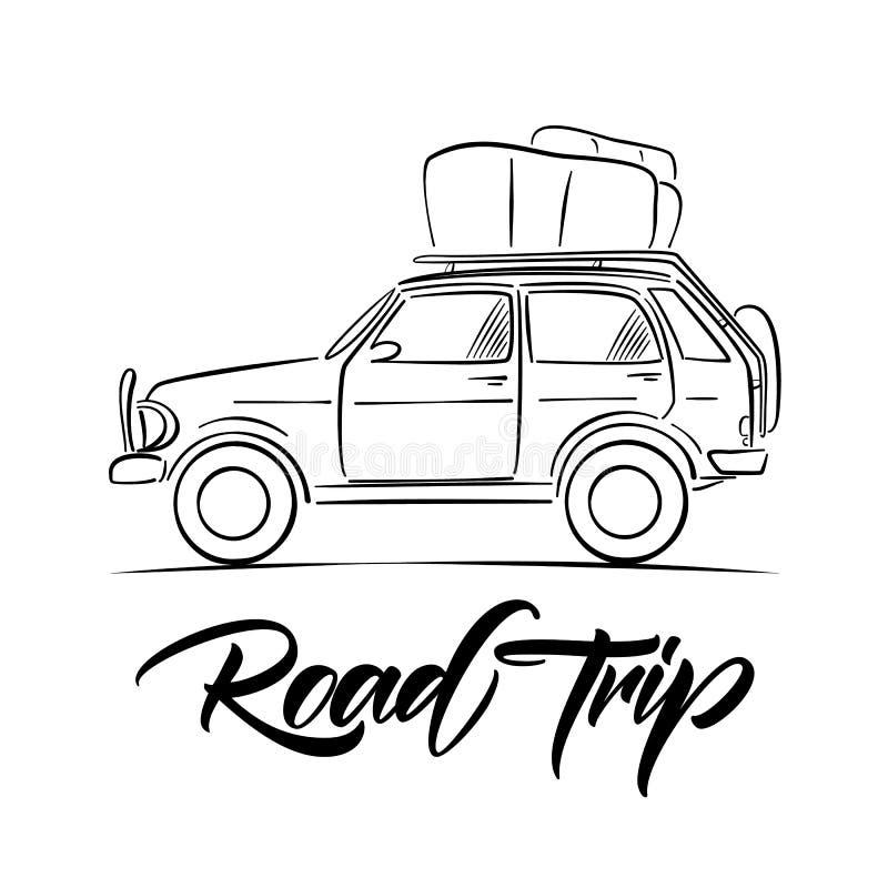Coche dibujado mano del viaje con equipaje en el tejado y el tipo manuscrito letras de viaje por carretera Línea diseño del bosqu stock de ilustración