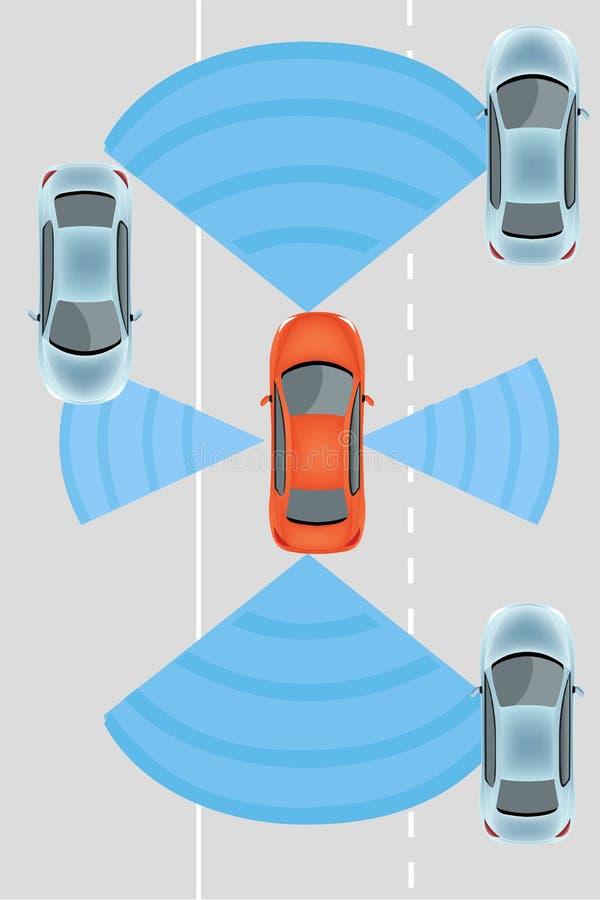 Coche driverless autónomo ilustración del vector