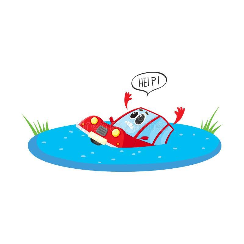 Coche drowing estilizado historieta plana del vector ilustración del vector
