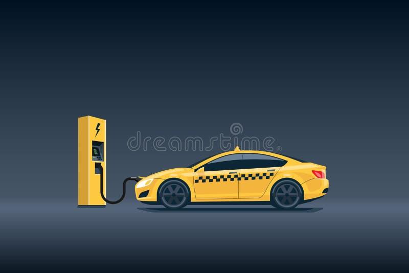 Coche eléctrico amarillo del taxi que carga en la estación de carga stock de ilustración