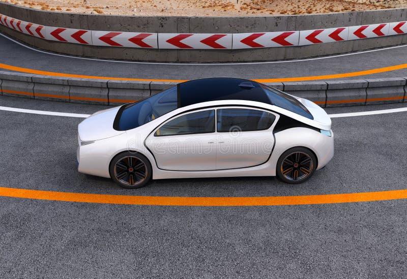 Coche eléctrico blanco en la carretera ilustración del vector