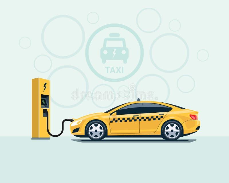 Coche eléctrico del taxi que carga en la estación de carga ilustración del vector