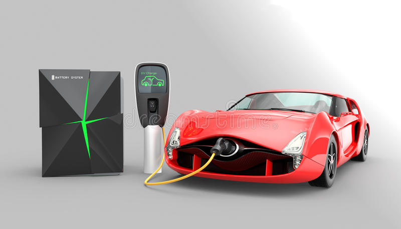 Coche eléctrico que carga en la estación de carga de EV libre illustration