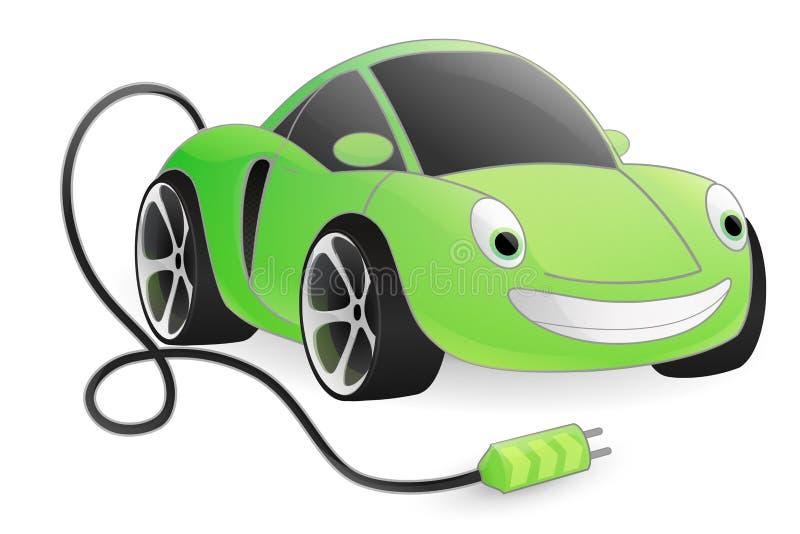 Coche eléctrico verde ilustración del vector