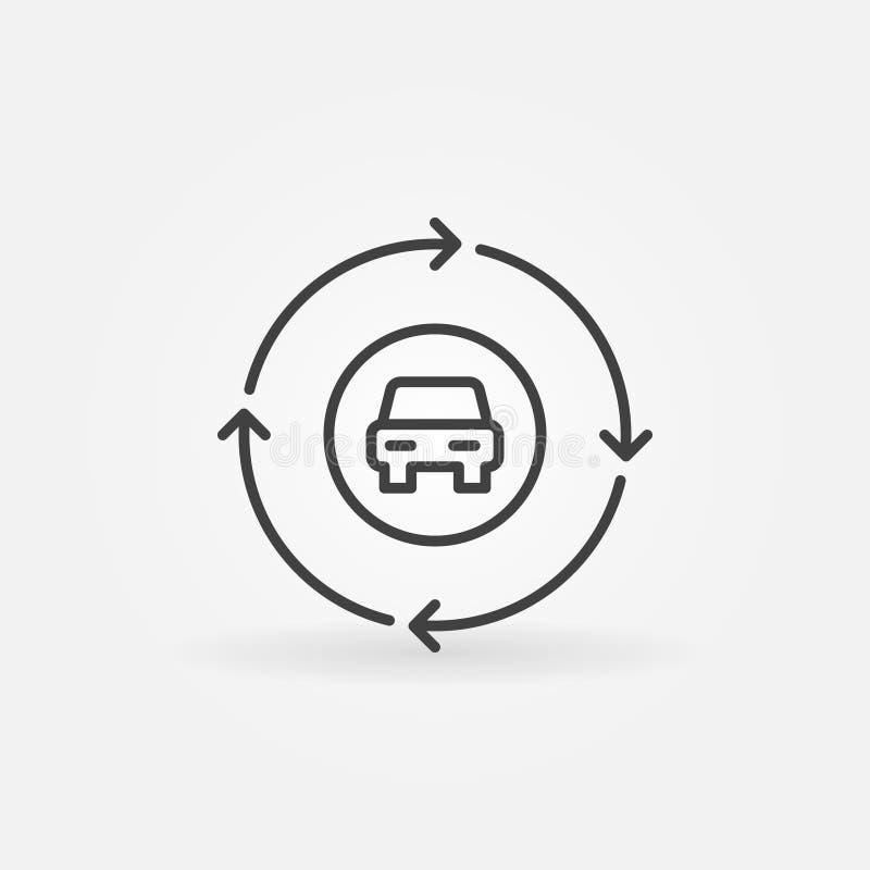 Coche en círculo con el icono del vector del esquema de las flechas stock de ilustración