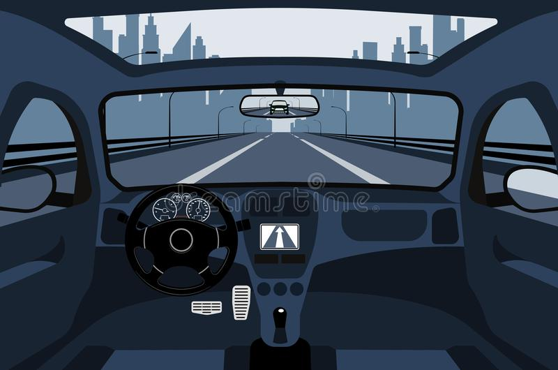Coche en el camino, una visión desde el salón libre illustration