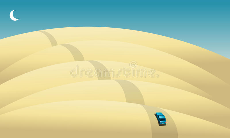 Coche en el desierto libre illustration