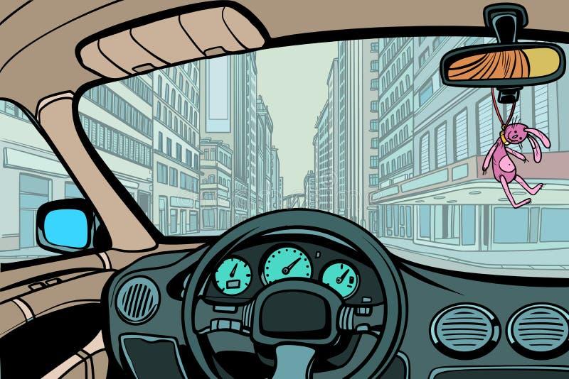 Coche en la ciudad, visión por dentro de la cabina stock de ilustración