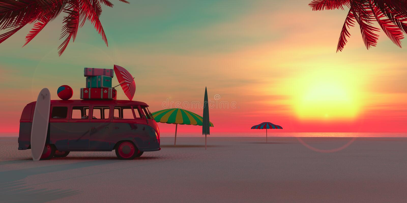 Coche en la playa libre illustration