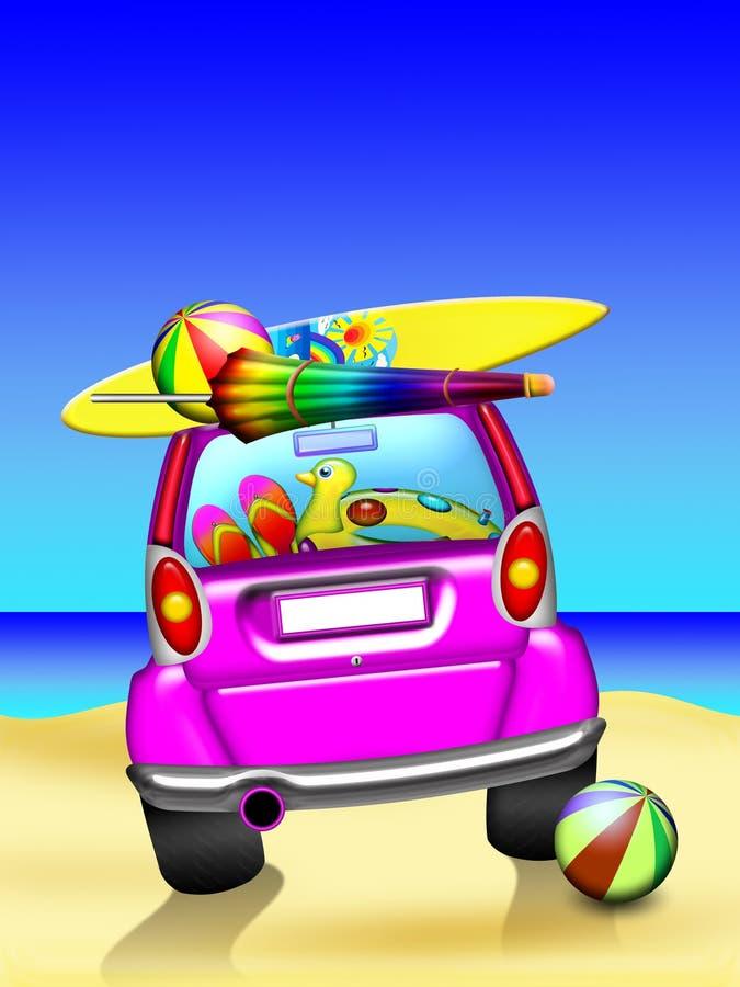 Coche en la playa ilustración del vector