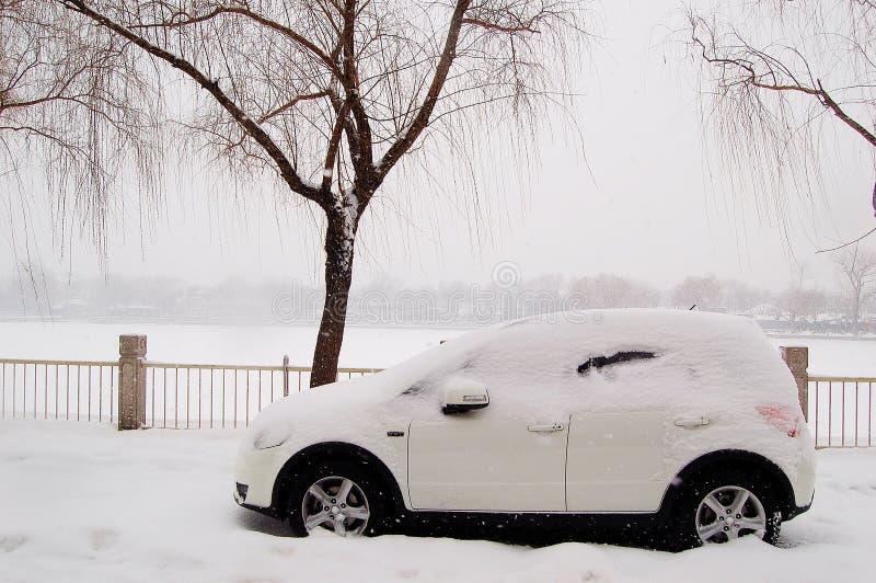 Coche en nieve al lado del lago fotografía de archivo libre de regalías