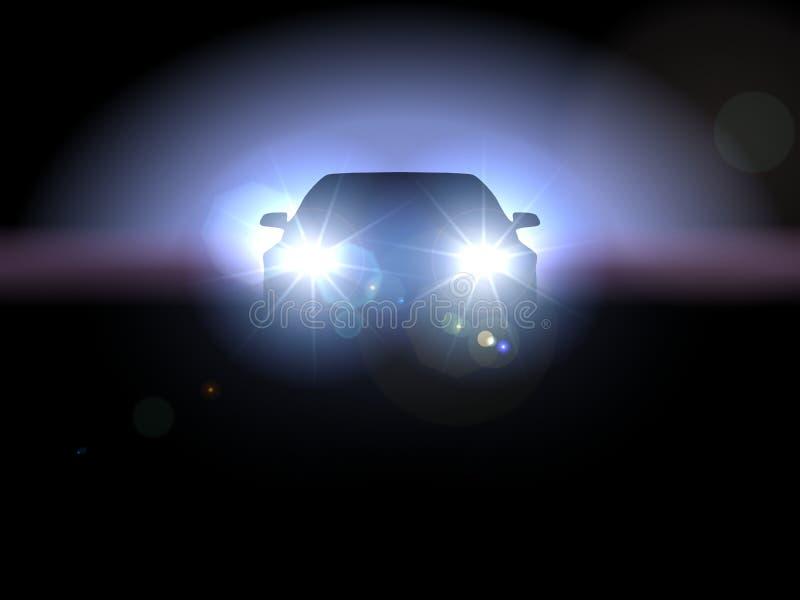 Coche en oscuridad ilustración del vector
