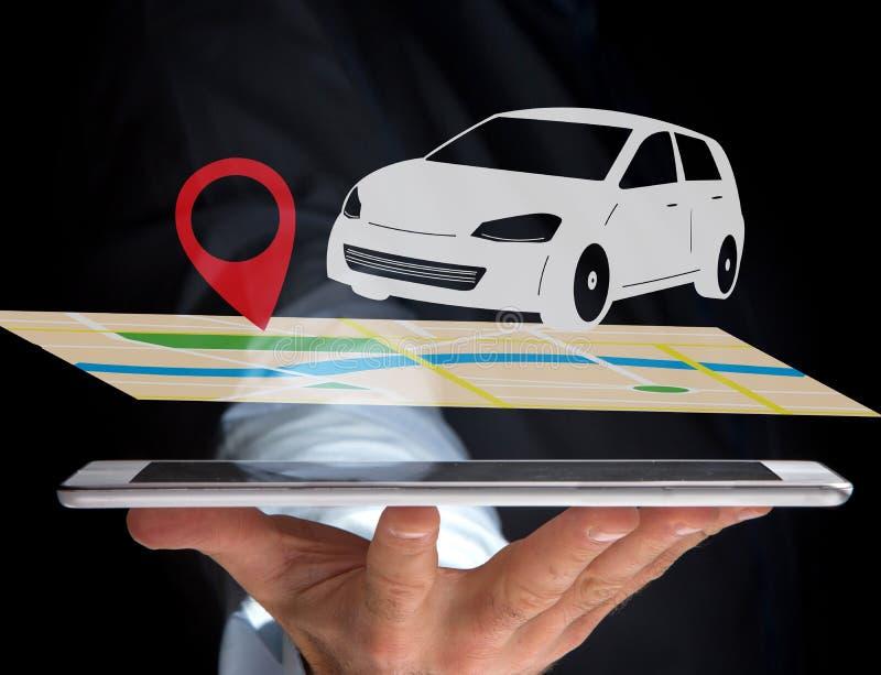 Coche en un mapa con un tenedor del perno - GPS y concepto de la localización fotografía de archivo