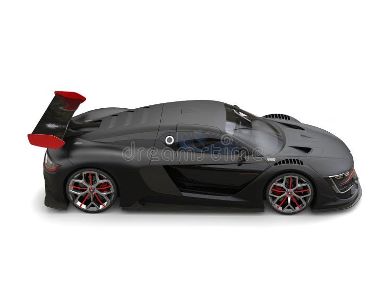 Coche estupendo negro mate magnífico con los detalles rojos ilustración del vector