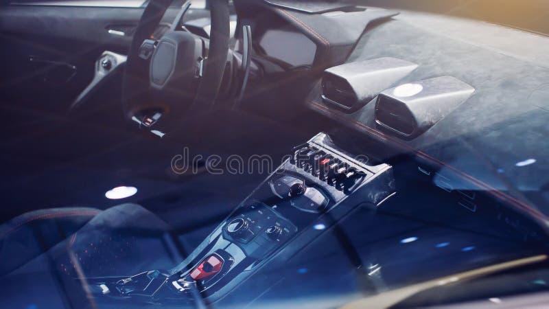 Coche exótico Coche de lujo moderno dentro Interior del coche moderno del prestigio volante y tablero de instrumentos cambio de p fotografía de archivo