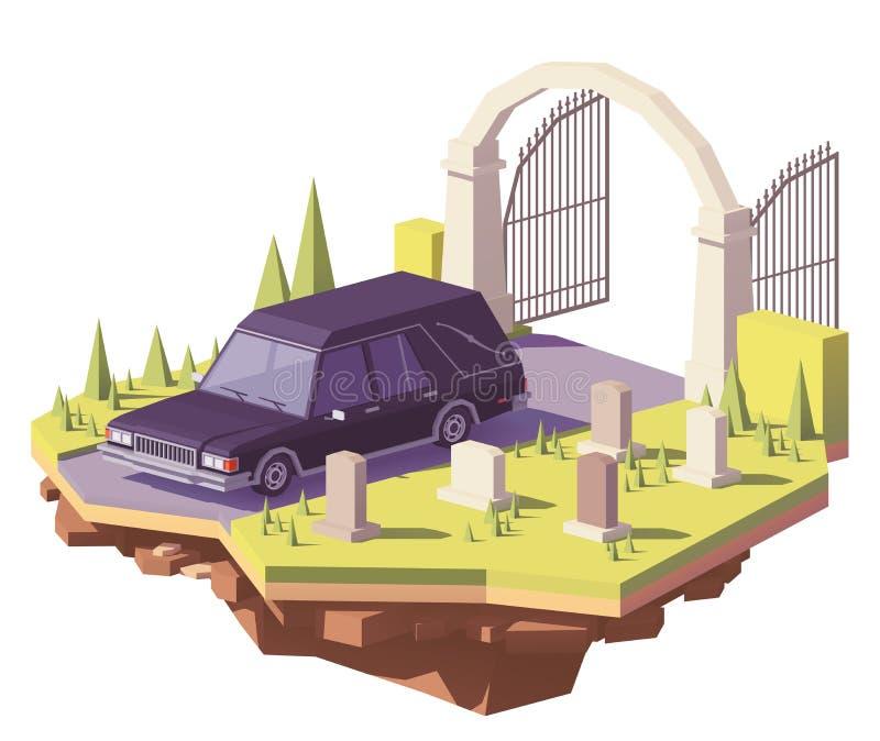 Coche fúnebre polivinílico bajo del coche fúnebre del vector ilustración del vector
