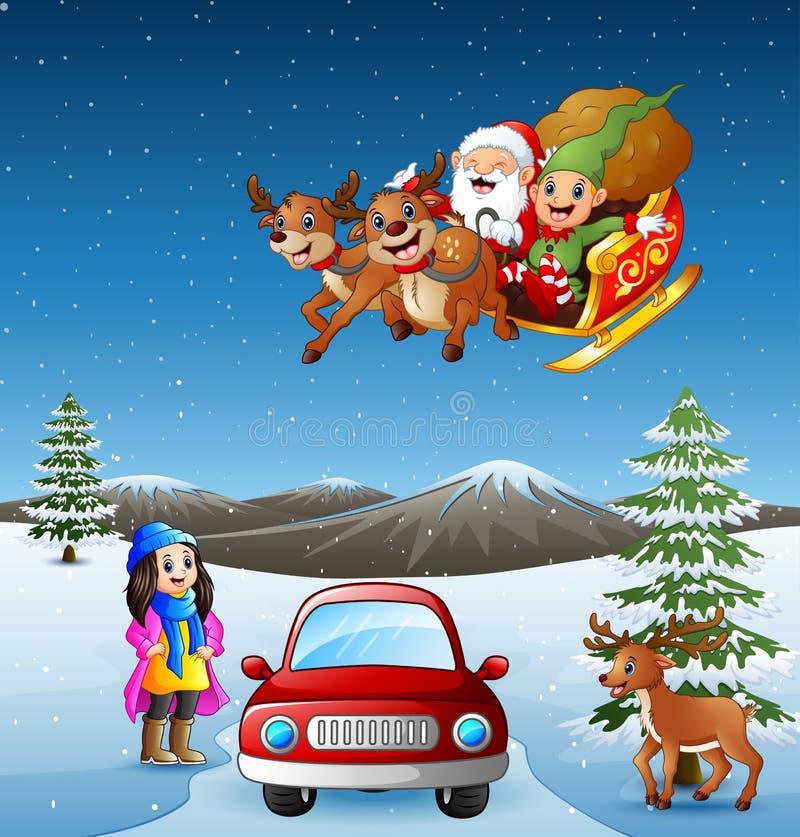 Coche feliz del montar a caballo de la muchacha en la colina que nieva con el vuelo de santa stock de ilustración