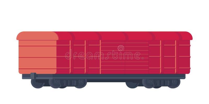 Coche ferroviario de la carga del tren Transporte de mercancías por ferrocarril Ilustración del vector stock de ilustración