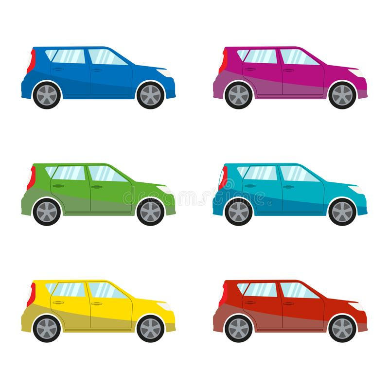 Coche fijado en estilo plano Iconos del vehículo Ilustración colorida del vector ilustración del vector