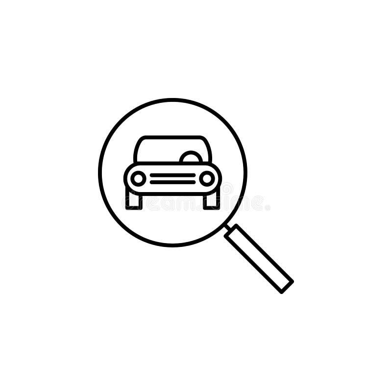 Coche, frente, lupa, icono de cristal del esquema Puede ser utilizado para la web, logotipo, app móvil, UI, UX stock de ilustración