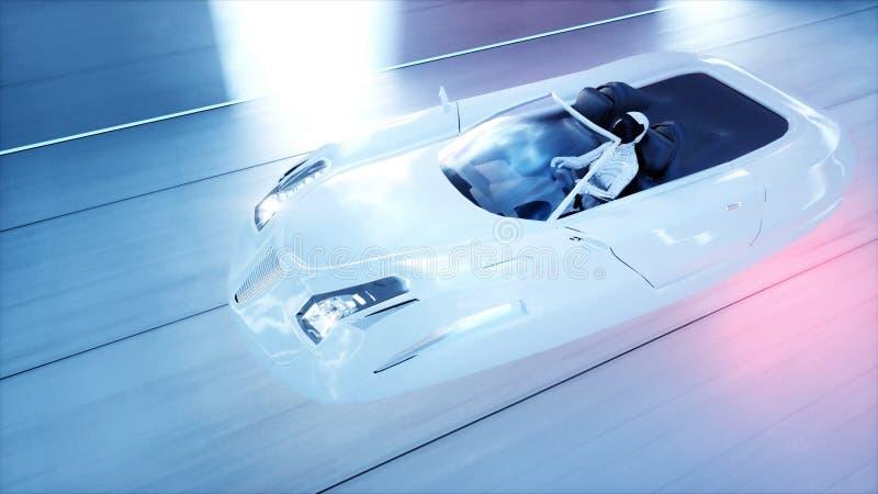 Coche futurista del vuelo con la conducción rápida de la mujer en el túnel del fi del sci, coridor Concepto de futuro representac libre illustration