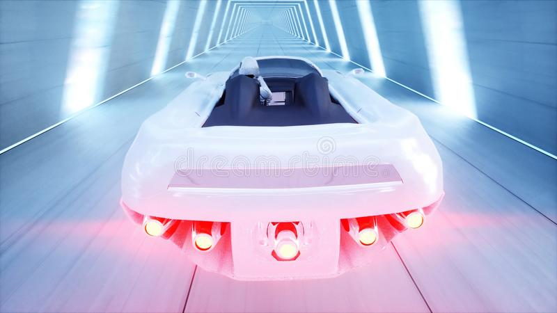 Coche futurista del vuelo con la conducción rápida de la mujer en el túnel del fi del sci, coridor Concepto de futuro representac stock de ilustración