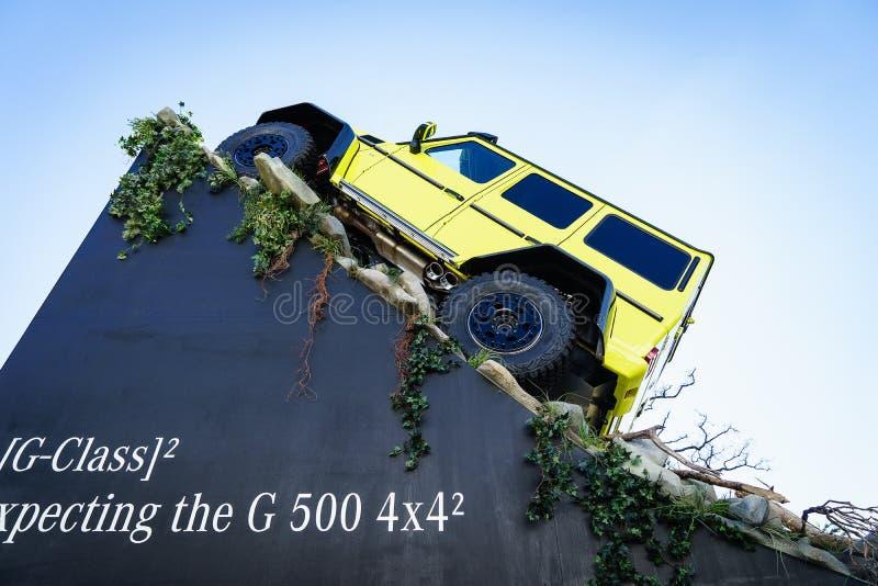 Coche G 500 4x4, salón del automóvil Ginebra 2015 de la demostración de Mercedes Benz Tv Expecting The New fotos de archivo