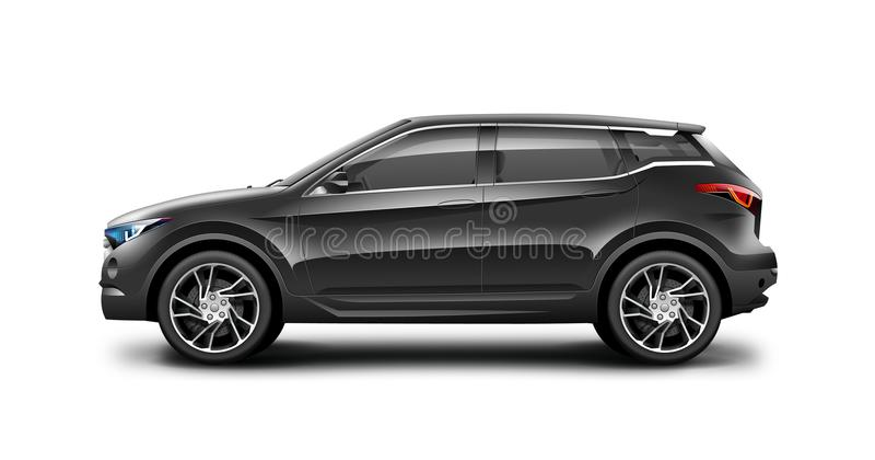 Coche genérico negro de SUV en el fondo blanco Vista lateral con la trayectoria aislada ilustración del vector