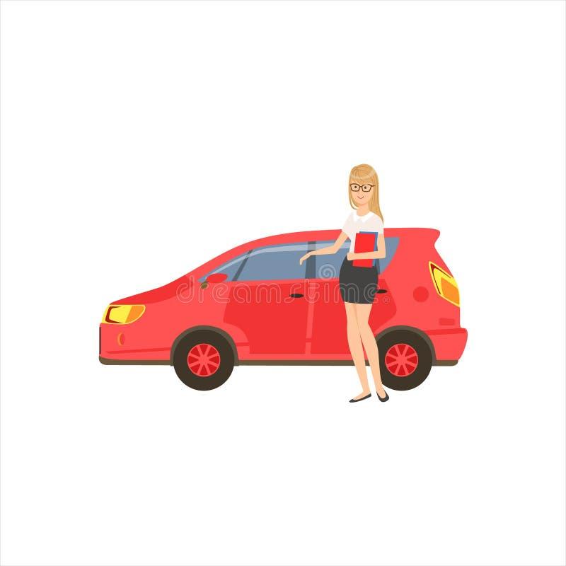 Coche hecho a sí mismo feliz de señora With Her Red del negocio en la ropa del equipo del código de vestimenta de la oficina, par stock de ilustración