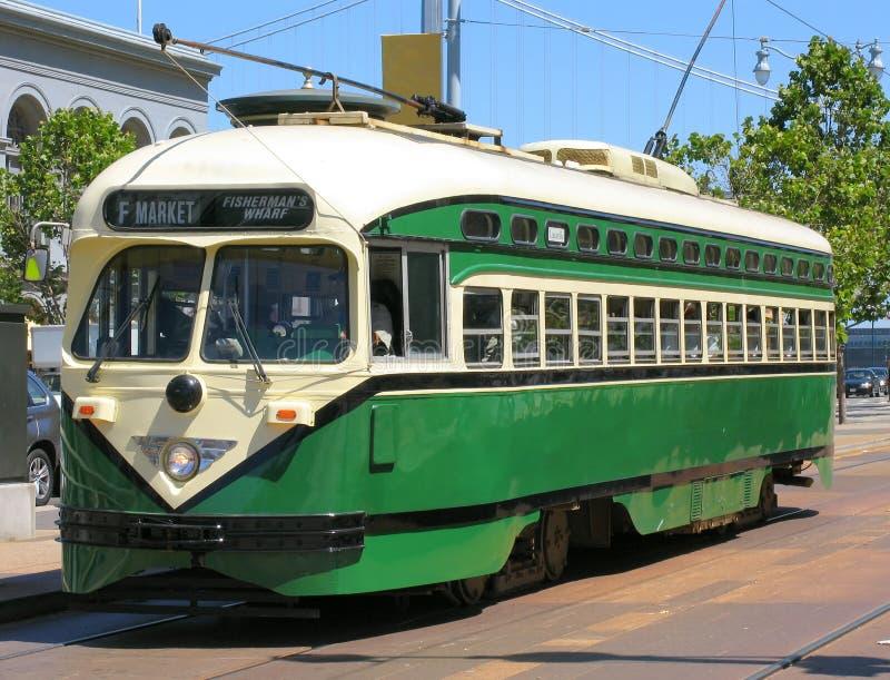 Coche histórico de la calle de San Francisco (verde) fotografía de archivo libre de regalías