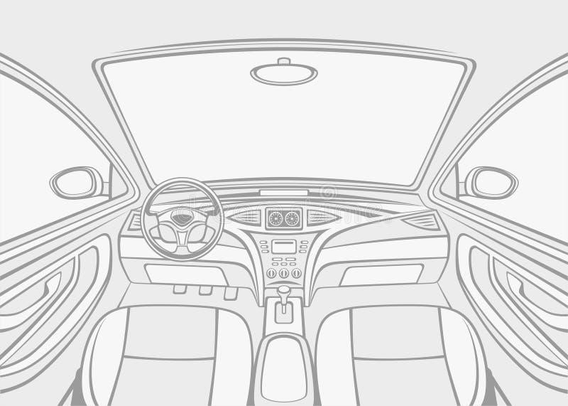 Coche interior stock de ilustración