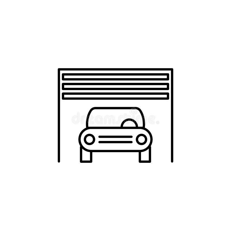 Coche, interior, icono del esquema del garaje Puede ser utilizado para la web, logotipo, app móvil, UI, UX libre illustration