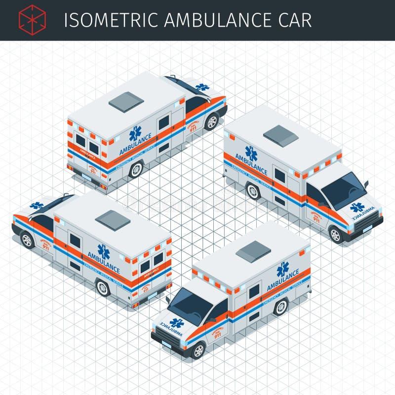 Coche isométrico de la ambulancia stock de ilustración