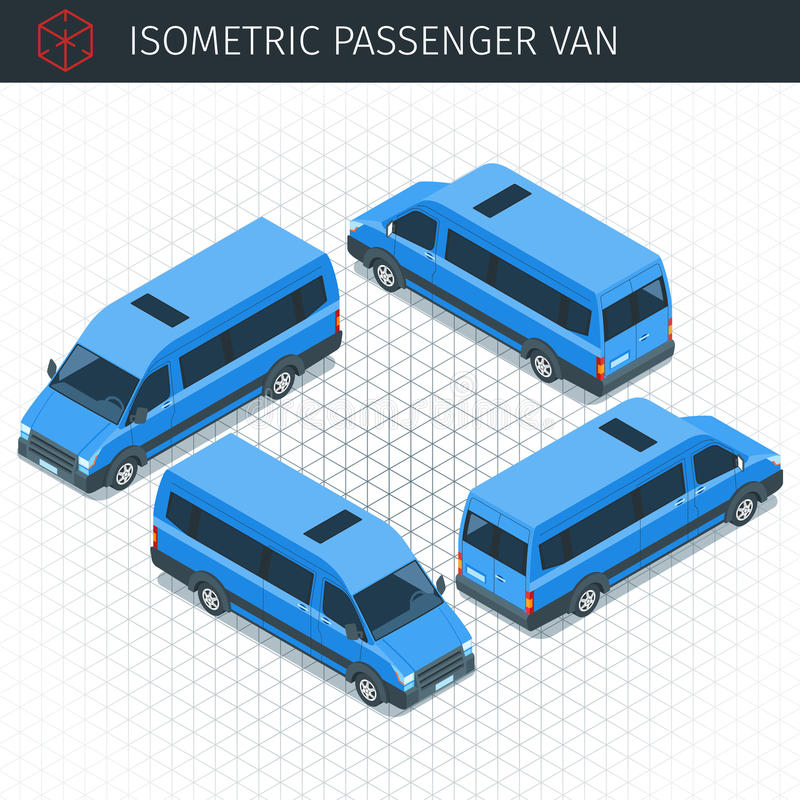 Coche isométrico del microbús libre illustration