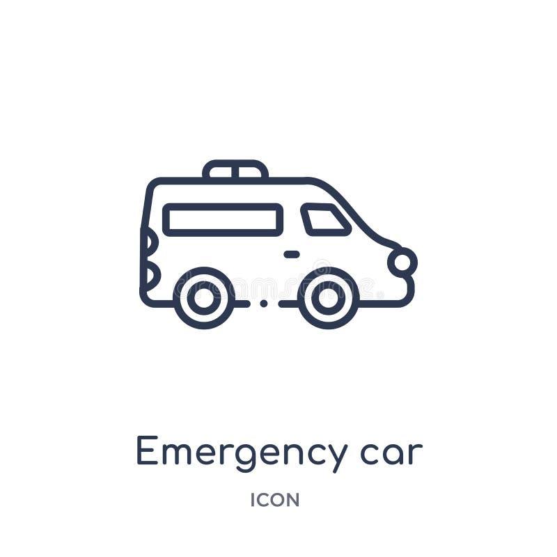 Coche linear de la emergencia que hace frente al icono correcto de la colección del esquema de Mechanicons Línea fina coche de la libre illustration