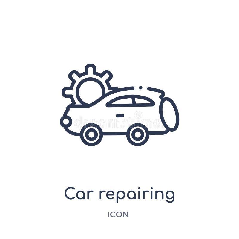 Coche linear que repara el icono de la colección del esquema de Mechanicons Línea fina coche que repara el icono aislado en el fo ilustración del vector