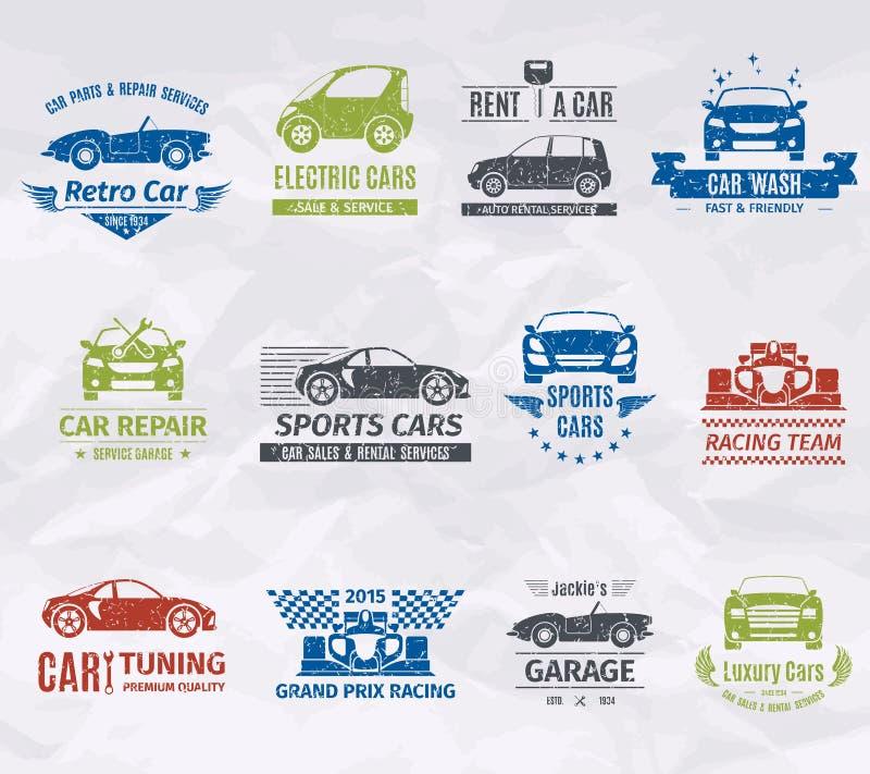 Coche Logo Stamps ilustración del vector