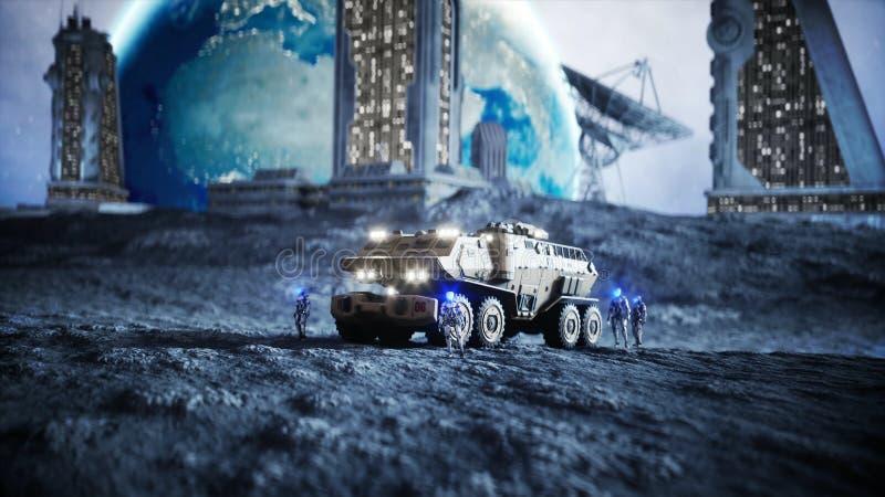 Coche militar en la luna con los robots Colonia de la luna Backround de la tierra representación 3d ilustración del vector