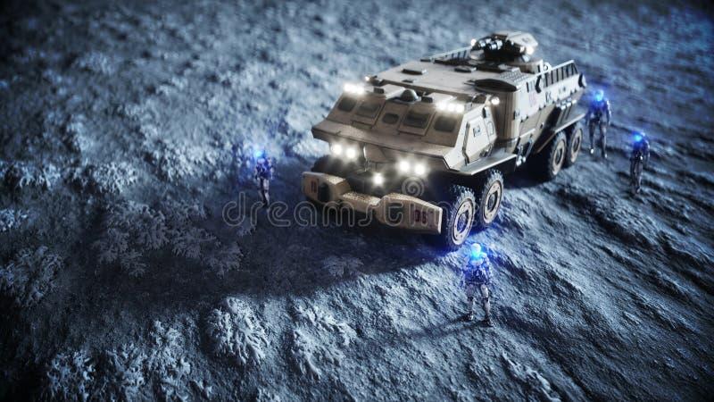 Coche militar en la luna con los robots Colonia de la luna Backround de la tierra representación 3d stock de ilustración