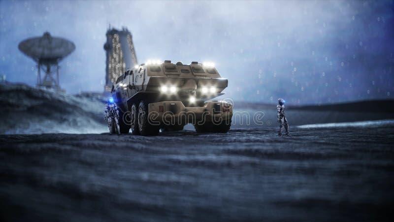 Coche militar en la luna con los robots Colonia de la luna Backround de la tierra representación 3d libre illustration
