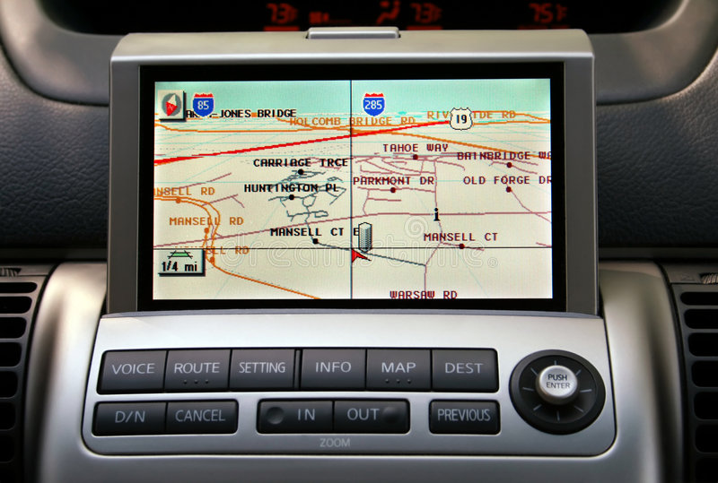 Coche Naviagion del GPS imagen de archivo libre de regalías