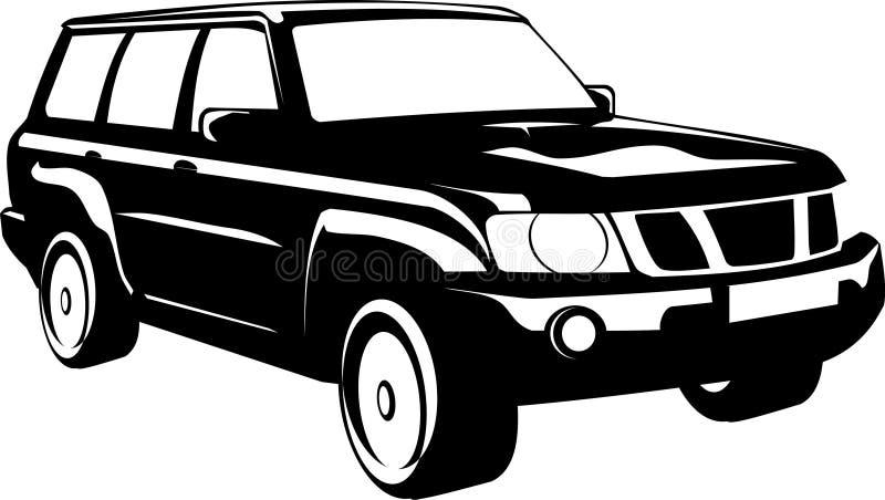 coche Negro-blanco stock de ilustración