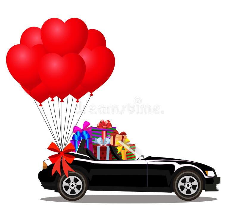 Coche negro del cabriolé de la historieta con el montón de regalos y de globos ilustración del vector