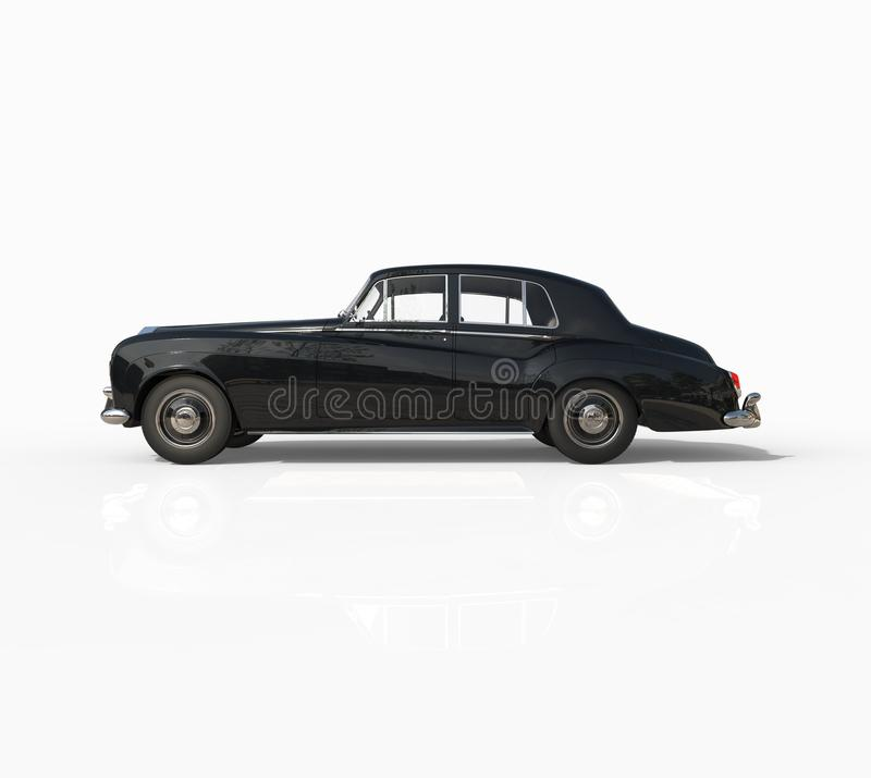 Coche negro del vintage tirado en el fondo blanco stock de ilustración