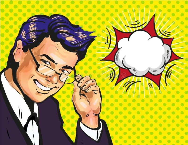 Coche o profesor de escuela de sexo masculino del negocio en vidrios con el arte pop de la burbuja del discurso cómico libre illustration