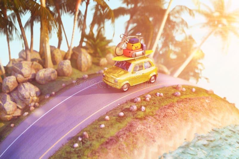 Coche para viajar con una baca en un camino de la montaña ilustración 3D imagen de archivo