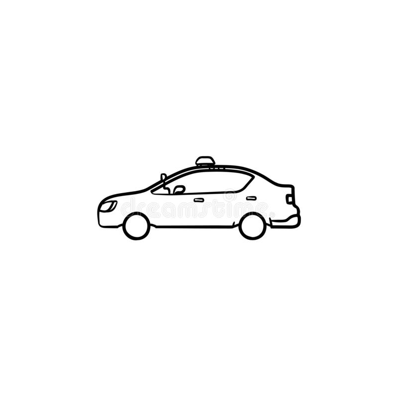 Coche policía con el icono dibujado mano del garabato del esquema de la vista lateral de la sirena ilustración del vector